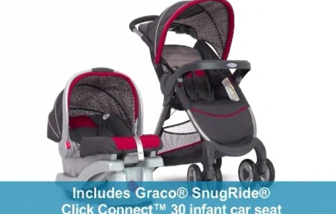 Graco FastAction Travel System includes a stroller, infant car seat, and car seat base.