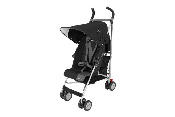 Maclaren Triumph Baby Stroller Shown in Black with Straps