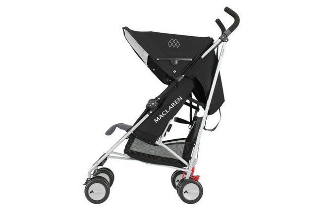 Maclaren Triumph Baby Stroller in Black, Shown with Canopy Partially Extended