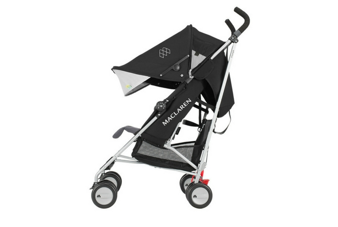 The Maclaren Triumph Baby Stroller in Black Shown with Canopy Extended