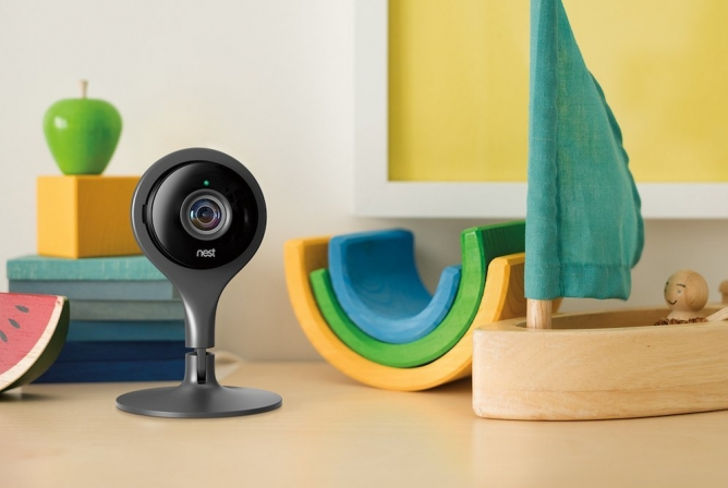 The Nest Cam can sit on table or mount on the wall.