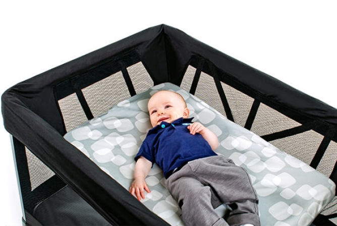 The 4moms Breeze Playard includes a bassinet up to 18 pounds.