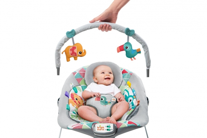 Bright Starts Toucan Tango Bouncer one-hand removable toy bar