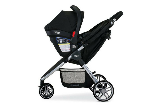 Britax B-Agile & B-Safe 35 Travel System review side view with car seat attached