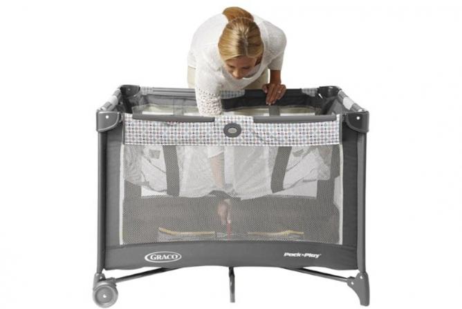 Reach through bassinet for easier folding