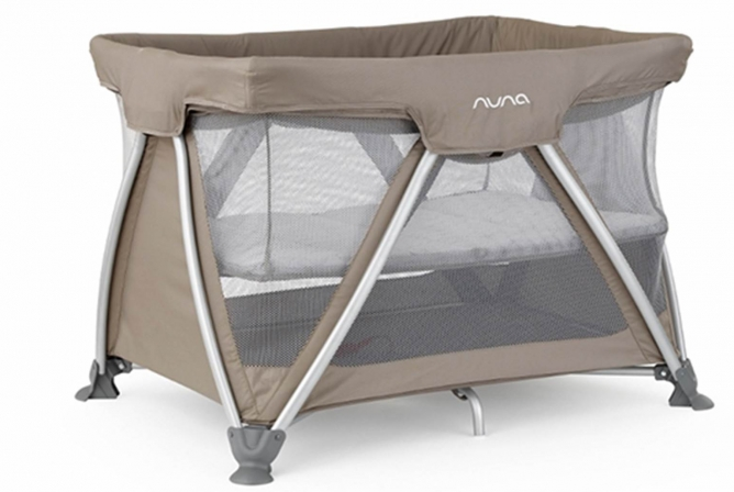 Nuna Sena Travel Crib bassinet folds up easily with the crib.