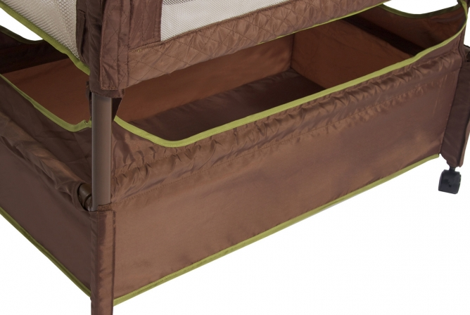 Arm's Reach Clear-Vue Co-Sleeper has a large storage basket below the bassinet