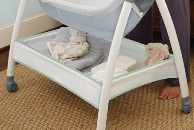 Storage basket underneath bassinet