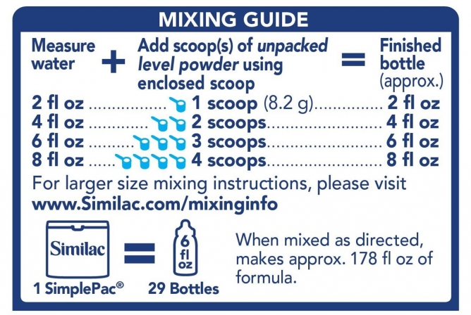 Similac Pro-Advance Baby Formula mixing guide