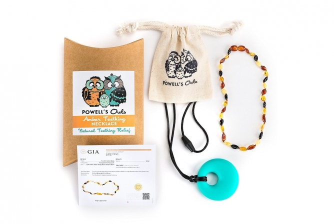 Powell's Owls Amber Teething Necklace