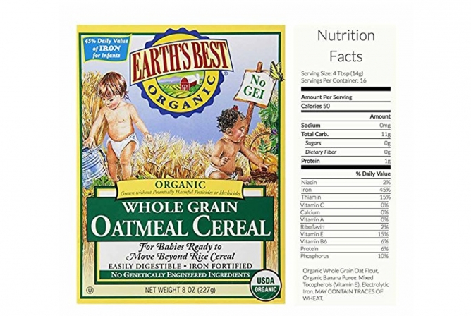 Earth's Best Baby Food Review Oatmeal Ingredients