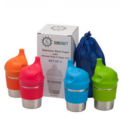 SunCraft Stainless Steel Cups with Silicone Sippy Lids & Grips for Kids Toddlers Babies